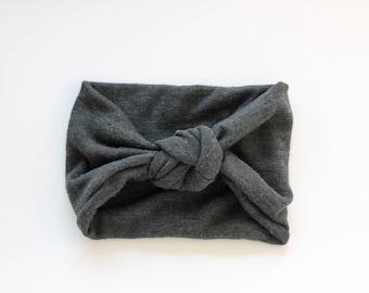 Top Knot Headband / Turban Headband - Charcoal Grey