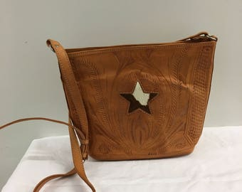 Vintage Leather Purse With cowhide Star