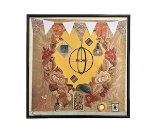 Vinyl Record Cover Collage Art Original Country Cat Mantel Mixed Media Album Cover Artwork Framed Home Decor Upcycled  Abstract Wall Art