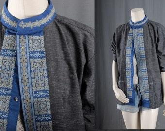 Kimono Jacket Blue tribal coat ethnic cover up Boho Bohemian Gypsy hippie size M medium