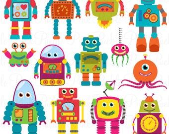 Robots Clip Art Clipart, Robot rétro partie Clipart Clip Art vecteur - Commercial et l'utilisation personnelle