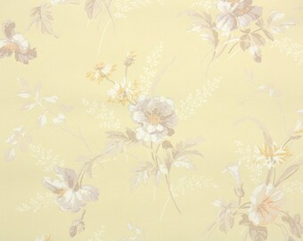 1940s Vintage Wallpaper by the Yard - White and Brown Flowers on Yellow, Floral Wallpaper
