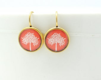 Tree Earrings in Gold | Gold Jewelry | Nature Inspired | Bohemian Chic | Lightweight Earrings | Custom Color Jewelry | Colorful Jewelry