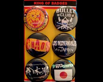 "L001 NJPW 1"" Pinback Button Pin Set of 6 New Japan Pro Wrestling Bullet Club Chaos LIJ Los Ingobernables de Japon Suzuki-gun Taguchi"
