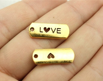 5 Love Stamped Tag Charms, Antique Gold Tone Charms (1C-232)