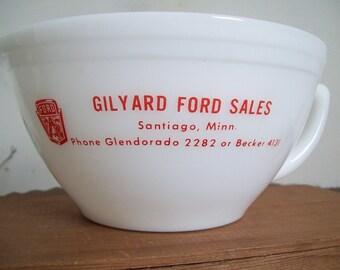 Vintage MN MINN advertising Federal Glass batter bowl Gilyard Ford Sales Santiago Minn