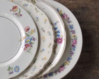 Assiettes à salade Vintage Chine dépareillées pour les mariages ensemble de 4 Tea Party, déjeuner mariée remplacement Chine