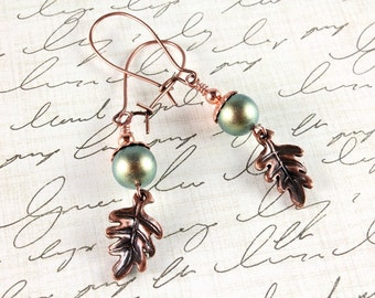 Copper Maple Leaf and Pearl Earrings, Swarovski Pearl, Iridescent Green