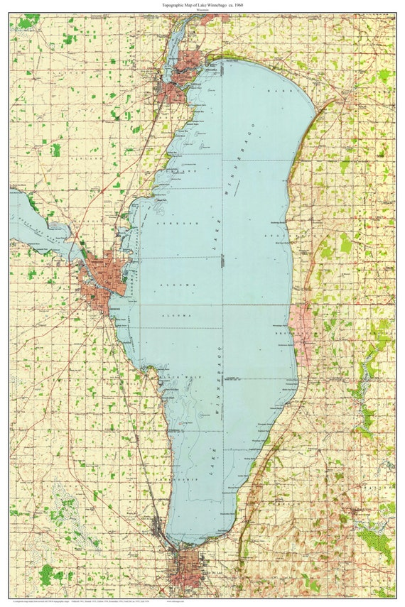 Lake Winnebago ca 1960 Old Topographic Map USGS Custom