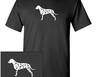 Dalmatian Dog Silhouette Custom T-Shirt - Men Women Youth Kids Long Sleeve Personalized Tee