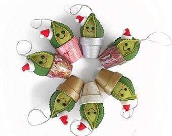 Christmas Felt Cactus / faux garden / faux succulent / felt plant  / home decor / christmas ornament  / Christmas decor