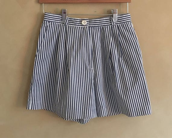 Vintage Blue Striped High Waisted Shorts