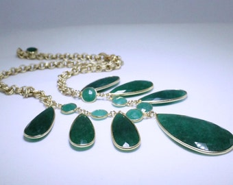 Green Emerald Necklace Adjustable Statement Necklace Genuine Precious Emerald May Birthstone Precious Emerald Jewelry BZ-N-139-Em