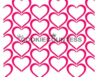Outlined Hearts Cookie Stencil, Heart Sugar Cookie Stencil, Heart Fondant Stencil, Cookie Countess Cookie Stencil, Mini Heart Stencil