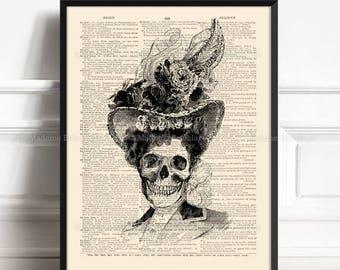 Calavera Catrina, Dia De Los Muertos, Dorm Decorations, Skull Book Page, Her 15th Birthday, Horror Wall Decor, Antique Page Print 039