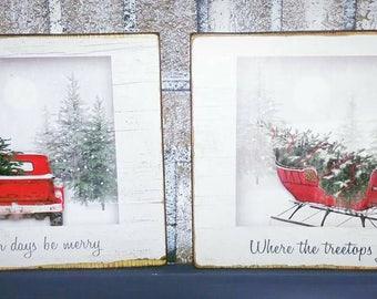 Christmas red truck, red sleigh decor, Christmas signs, Christmas red truck decor