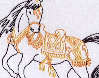 Horse Hand Embroidery Pattern, Ornate, Saddled Horse, Circus, Parade, Ceremonial, Royal, Fancy, Ceremonial, PDF