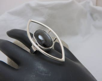 Sterling silver with star diopside ring
