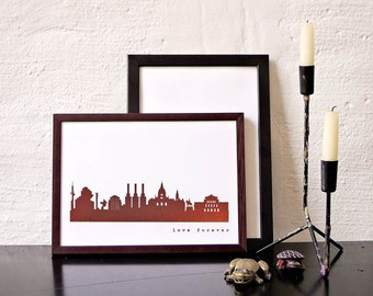 HANNOVER art print copper, urban Hannover city print, perfect anniversary gift, Hannover gift poster, art work Hannover, home decor copper
