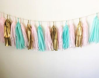 Mint, Pink & Gold - Tissue Paper Tassel Garland/Pom Tassels/Party Garland/Party Tassels/Paper Banner/Party Decor/Balloon Tassels/Blush