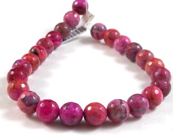 Pink Crazy Lace Agate, 8mm Faceted , Polished. One Factory Strand