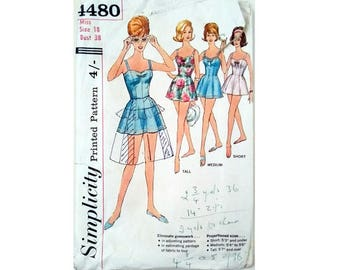 "Vintage Simplicity #4480 One piece Bathing suit Swimsuit in proportioned Tall Medium Short sizes Bust 38"" UK 16"