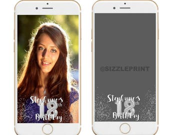 SILVER GEOFILTER  Plus Family & Friends Message   Custom Personalized Snapchat Geofilter   Girl Adult Birthday Party Balloons Glitter