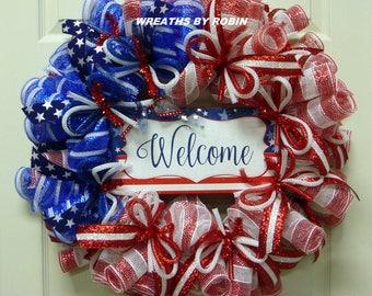 RWB Tube Wreath, Patriotic Wreaths (2756-2)