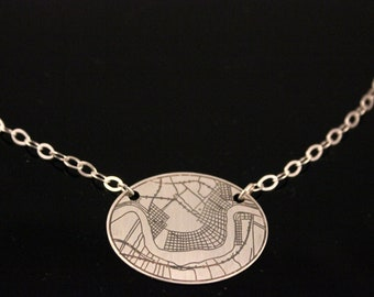 Crescent City Etched Necklace of New Orleans Map