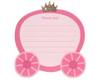 Once Upon a Time- Thank You Note Card Set   Princess, Carriage, Pink, Gold Glitter   Thank You Cards   Set of 8 Note Cards
