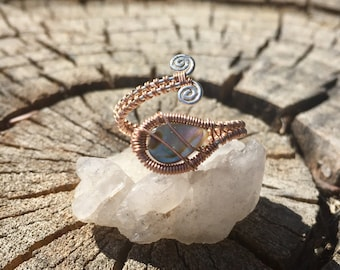 Abalone 14 ct. Goldfill and Sterling Silver Wrap Ring