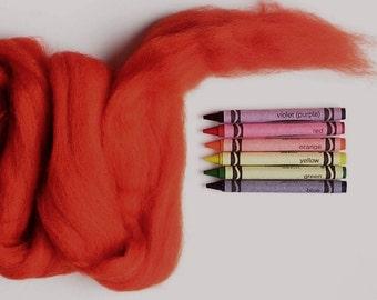 CORRIEDALE WOOL ROVING / Firey Orange 1 ounce / corriedale roving for needle felting, wet felting, halloween, doll hair, dreadlocks, weaving