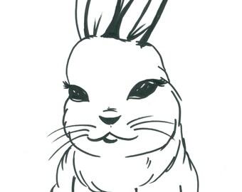 Black and White Graphic Mod Bunny Fine Art Print Illustration