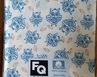 """Fabric Quarters Cotton Fabric 18""""- Novelty Owls on Off-White"""
