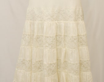 Vintage Off  White Cotton Petticoat or Skirt.