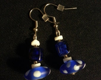 Dark Blue Glass Beads with White dots Earring Set