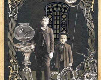 Spooky Victorian Octopus Print - Deep Sea Souvenirs