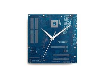 Blue Circuit Board Clock, Geek Wall Clock Unique Wall Clock, Large Wall Clock, Industrial Clock, Unique Gift, Boyfriend Gift, Husband Gift