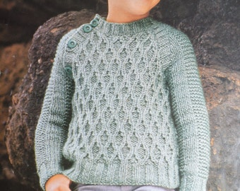 PDF boys kids chunky patterned sweater vintage knitting pattern pdf INSTANT download pattern only