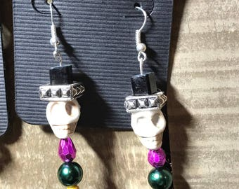 Sugar skull with top hat earrings