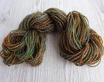 Hand spun and Hand dyed yarn Merino Lurex yarn