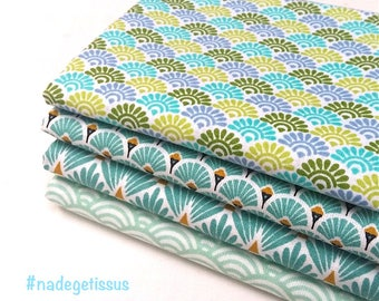 4 coupons Fat Quarter 49 cm X 50 cm - sunrise fabric green blue, turquoise fan, turquoise scales: Green seigaiha sushi