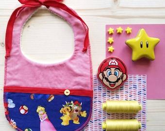 Baby Bib Super Mario themed (Mario Bros)