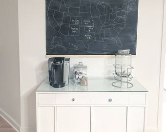 Chalkboard map etsy ready to ship united states chalkboard map black white us map geography gumiabroncs Image collections