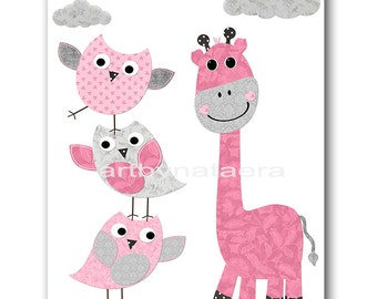 Giraffe Nursery Print Printable Art Nursery Digital Download Children Art Baby Girl Nursery Digital Download Art 8x10 11X14 INSTANT DOWNLOAD
