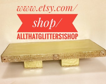 19x12 Gold Square Cake Stand