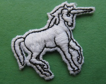 white unicorn patch magical creature appliqué vintage jacket patch new old stock sewing trim