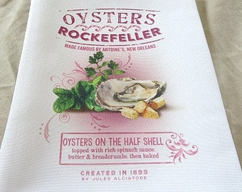 Oysters Rockefeller Handtowel - Oysters Towel - New Orleans Handtowel - Gift - Kitchen Towel - New Home Gift - New Orleans Gift - Hand Towel