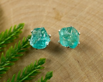 Rough Apatite Sterling Silver Earrings