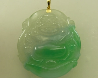 Green Jade Buddha Pendant 14k Yellow Gold Bail